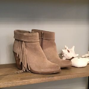 Jessica Simpson Suede Taupe Fringe heeled booties